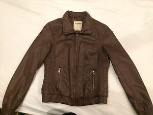 Brown faux leather jacket size M