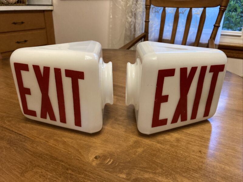 Pair of Vintage Glass Exit Signs Two Sided White Glass Red Letters Wall Mount