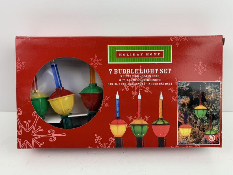 Christmas BUBBLE LIGHTS Set Of 7 Box Vintage Holiday Home Multi Color New