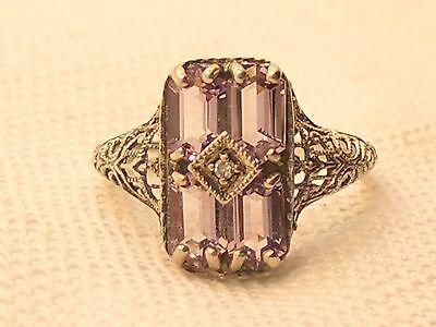 Estate Vintage Sterling Silver CNA Signed Amethyst & Diamond Filigree Ring