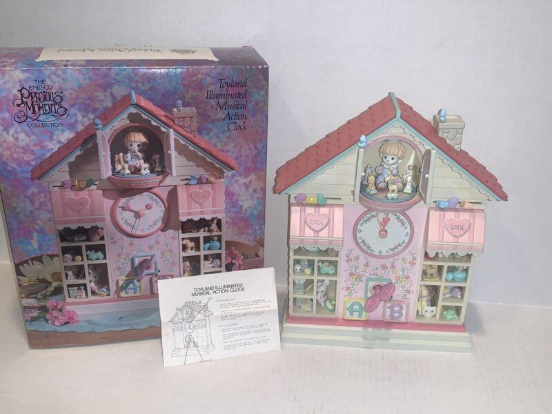 RARE 1991 Enesco Precious Moments Toyland Illuminated Musical Action Clock NEW