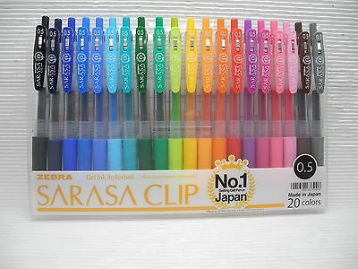 20 Colors Set Zebra Sarasa Clip 0.5mm Extra Fine Point Gel Ink Roller Ball Pen