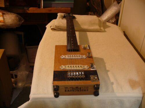 CIGAR BOX GUITAR DREW ESTATES UNDER CROWN  6 STRING LP NECK CIGAR BOX GUITAR !