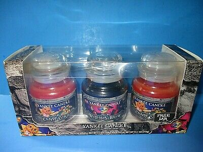 Yankee Candle Halloween 3.7 OZ Small Boxed Jar Set Of 3 Witches Brew Candy Corn