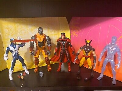 Marvel Legends X-men Lot Cyclops Wolverine Colossus Iceman Magneto No Baf