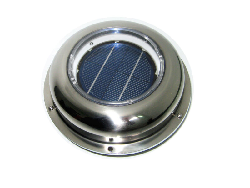 Solar Powered Vent Fan Exhaust Ventilation Stainless Steel f Roof Attic RV Boats