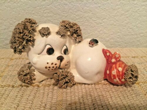 Vintage Lefton Spaghetti Puppy Figurine with Bug and Bandage
