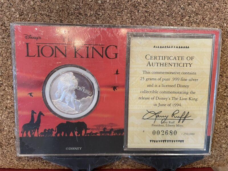 LION KING DISNEY 1994 MOVIE RELEASE RARE 999 SILVER COIN COA CASE