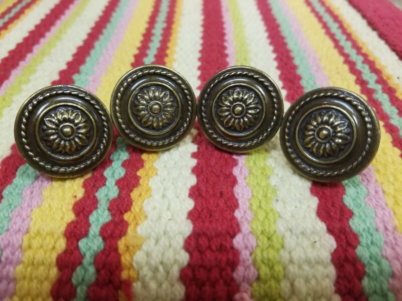 Vintage Lot Of 4 Metal Ornate Knobs Drawer Pulls Handles Cupboard Cabinet, NOS
