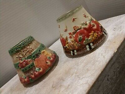 Set Of 2 Small YANKEE CANDLE Fall pumpkin apples CERAMIC CANDLE SHADE TOPPER