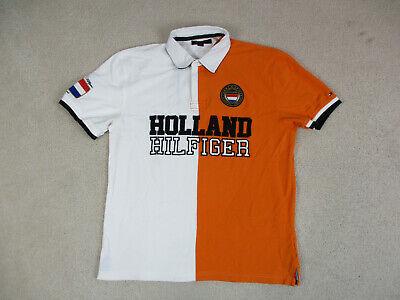 VINTAGE Tommy Hilfiger Polo Shirt Adult Extra Large White Orange Holland Mens *