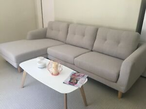Beige, super comfy couch/sofa with chaise