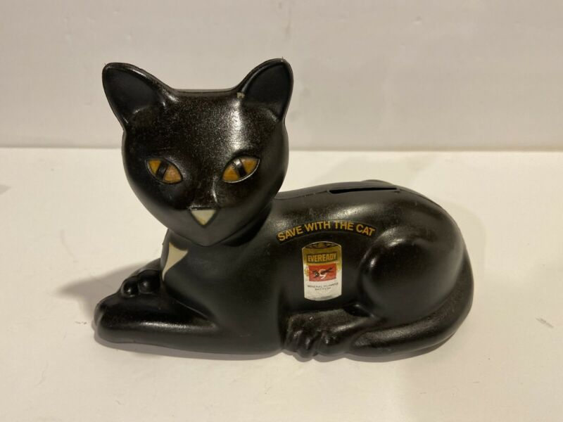 "Vintage 1981 Eveready Battery Plastic Black Cat Bank ""Save with the Cat"" NICE!"
