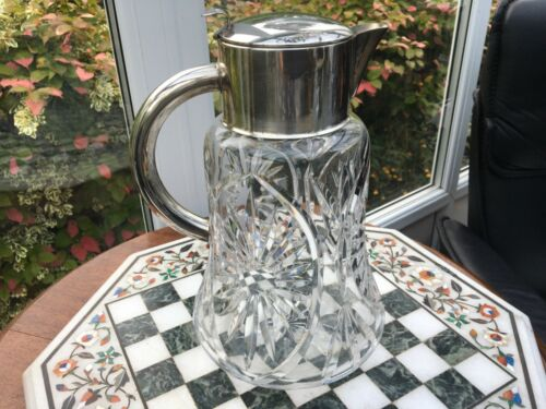 Huge C1930 QUIST WUTTEMBURG W GERMAN LEMONADE DEEP CUT SILVER PLATED HANDLED JUG