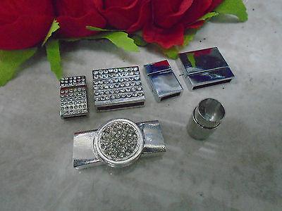 (Magnetic Bracelet BLANKS clasp hook buckle silver chrome diamante crystal craft)