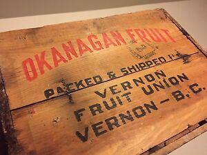 Antique fruit crate. Okanagan fruit