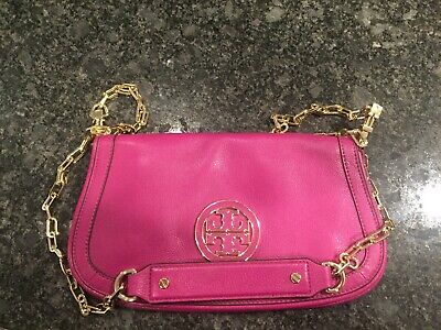 EUC Tory Burch Purse Purple with Gold Chain