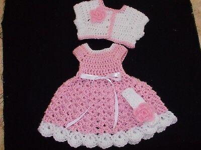 -  HANDMADE CROCHET BABY DRESS. SWEATER ,HEADBAND- PINK   by ROCKY MOUNTAIN MARTY