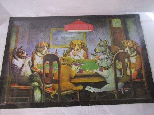 Dogs Playing Poker Nostalgic Casino Metal Sign Vintage Style Home Decor Large