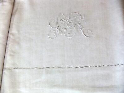 Sheet wire linen 1m90 x 2m80 Embroidered monogram