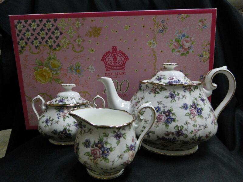 Royal Albert 100 Years, English Chintz: NEW Teapot, Creamer & Sugar, Box