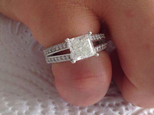 2.52 ct PRINCESS CUT Designer diamond engagement Ring 14k WHITE GOLD (64)