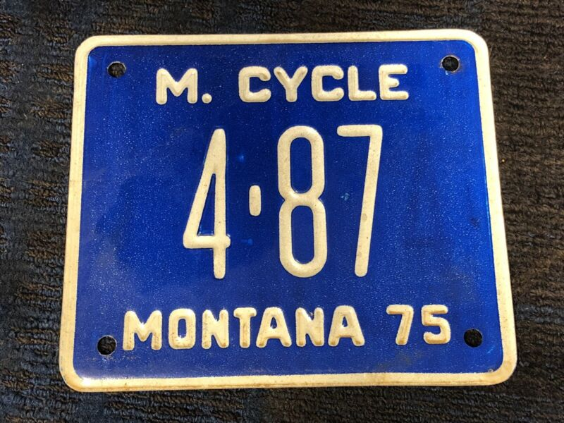 Montana motorcycle license plate 4-87 4 87 1975 75