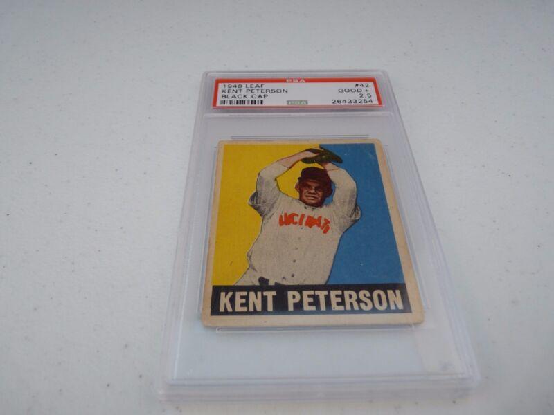 Kent Peterson 1948 Leaf #42 Baseball Card PSA Graded Black Hat Good + 2.5