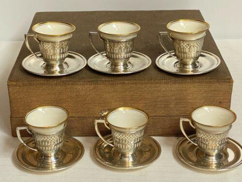 Set Of 6 Sterling Silver Demitasse Cups/Saucers Lenox Liners Maschmeyer Richards