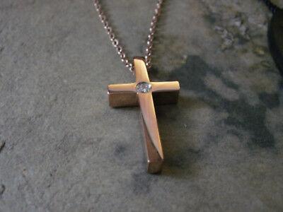 Filigrane Damen Edelstahl Halskette Kette mit Anhänger Kreuz Fb Rose Gold 1631