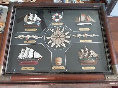 Antique Vintage Nautical Knot Board Ship Clock Man Cave Brass Ends Glass Frame