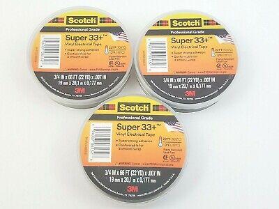 Lot Of 3 Rolls 3m 33 Black 34 X 66 Ft Vinyl Electrical Tape