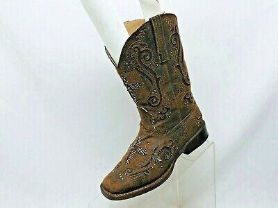 Roper Brand Distress Brown Studded Cross Inlay Cowboy Boots Girls Youth Size 2