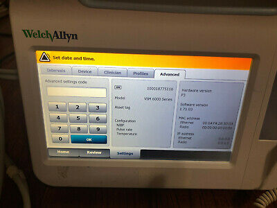 Welch Allyn Vsm 6000 Series Color Patient Vital Signs Monitor