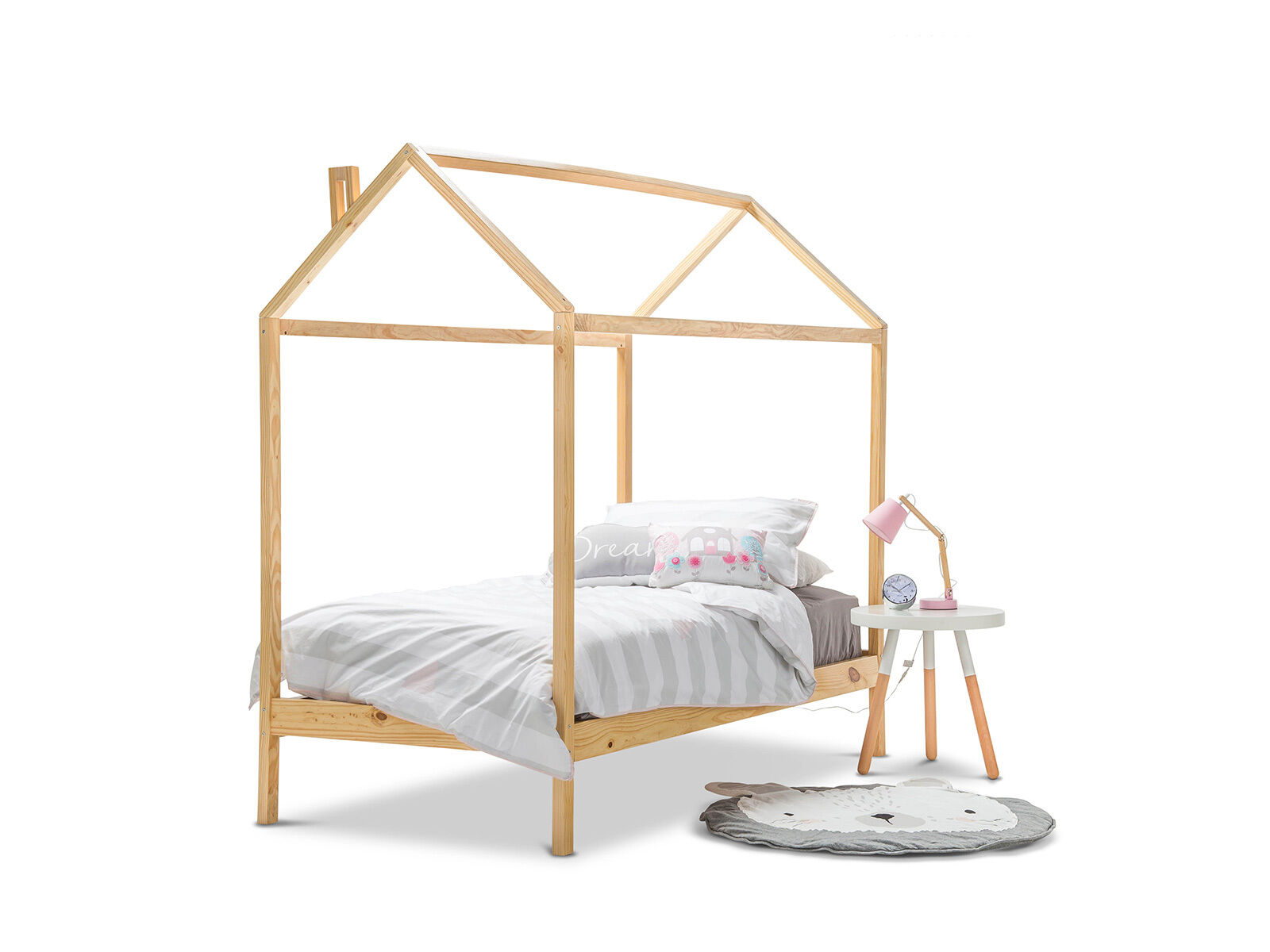 Scandinavian Wood Timber Single Size House Shaped Bed Frame for Kids