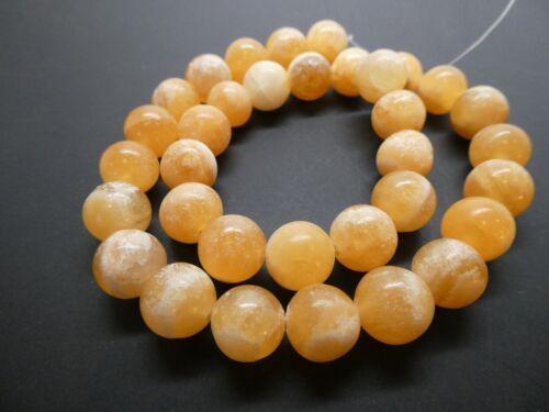 """Natural Yellow Calcite 12mm Round Smooth Gemstone Beads Strand 15.5"""" Bargain"""