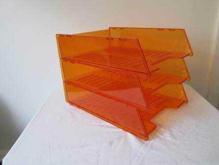Office desk trays, orange, x3