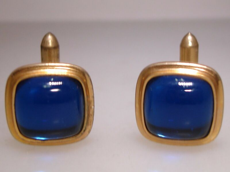 RETRO STYLE CORRECT QUALITY DTD. 1930-40 ROSE GOLD FILLED BLUE GLASS CUFF LINKS