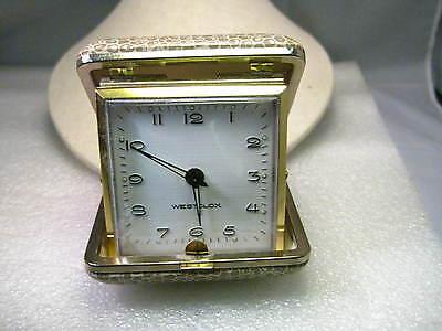 Vintage Westclox Folding Travel Alarm Clock, Wind-Up, Tan Faux Leather