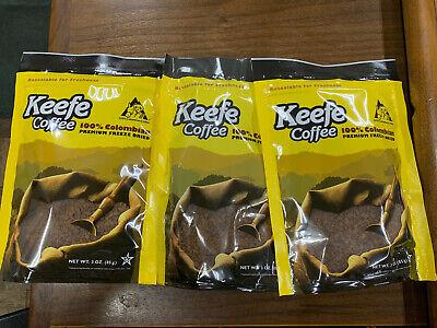 (3) Keefe Coffee 100% Colombian Freeze Dried 3 oz each Best By December 2021