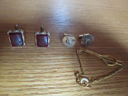 Vintage Lot of Masonic Masons Cufflinks & Tie Clasp Bar with Dangle Emblem