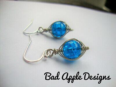 Blue Topaz Glass Earrings Silver Wire Wrapped Herringbone Style USA HANDMADE