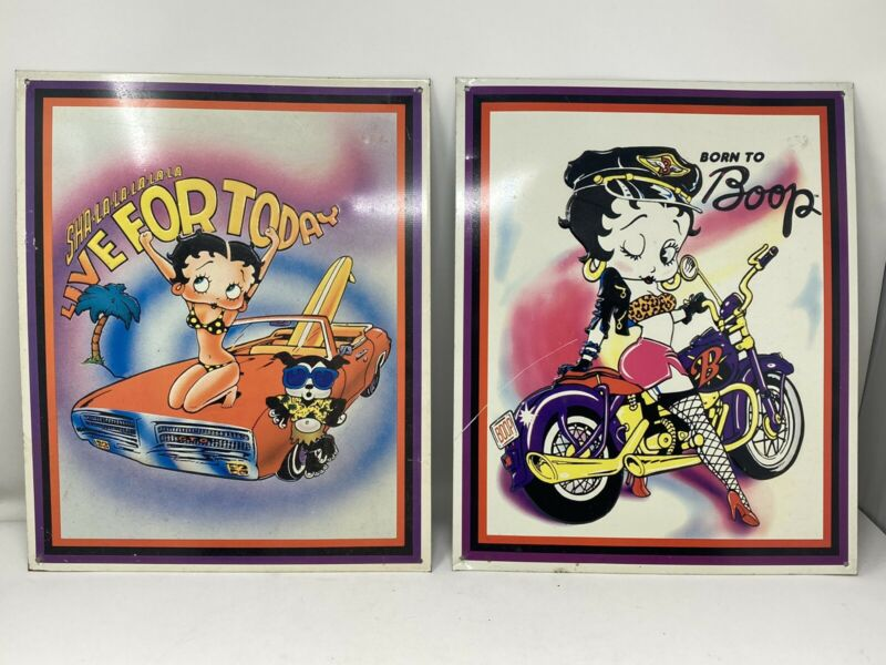Vintage Betty Boop Metal Sign Lot Live for Today & Born To Boop 90s 1996 Biker