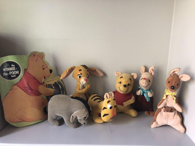 Vintage 1960s Winnie The Pooh sawdust stuffed figures Walt Disney Sears Plush