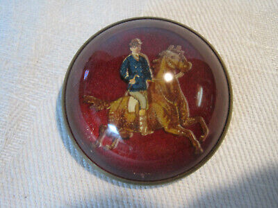 Horse And Rider Costumes (Antique glass domed horse bridle rosette pin brooch, horse and)
