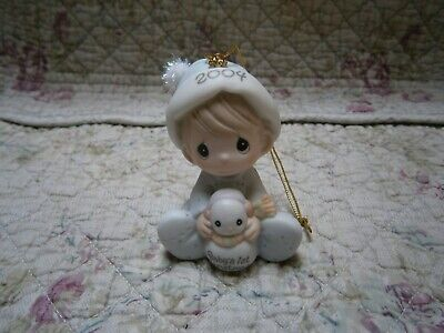 Precious Moments Ornament Babys First 1st Christmas 2004 Boy w/ Snowman