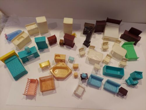 Vintage Dollhouse Furniture Marx Plasco Others 1960s For TIN Houses 45 Pc LOT - $30.00