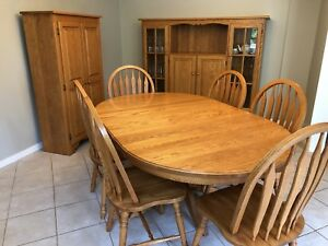 Oak Dining Set - table with 6 chairs, hutch & cabinet