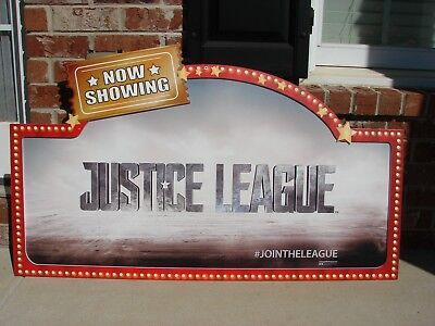 Toys R Us Store Display Sign JUSTICE LEAGUE Banner Movie Time Now Showing RARE - Now Showing Banner