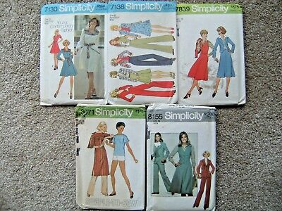 5 Assorted Vintage 1970s Simplicity Sewing Patterns Misses Dress Pants Skirt +